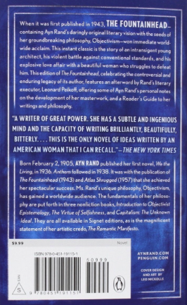 analyzing the fountainhead by ayn rand - back cover