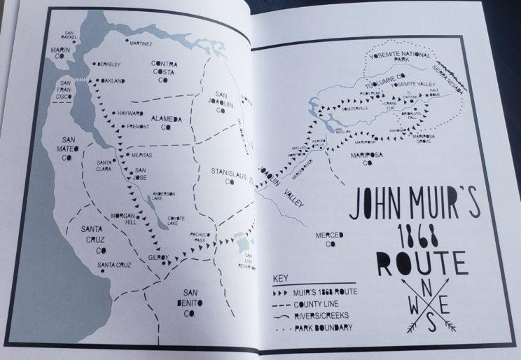 anywhere that is wild john muirs first walk to yosemite - john muirs route